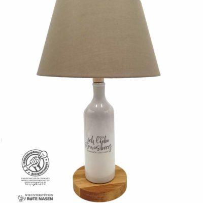 Steingutlampe mit Schriftzug