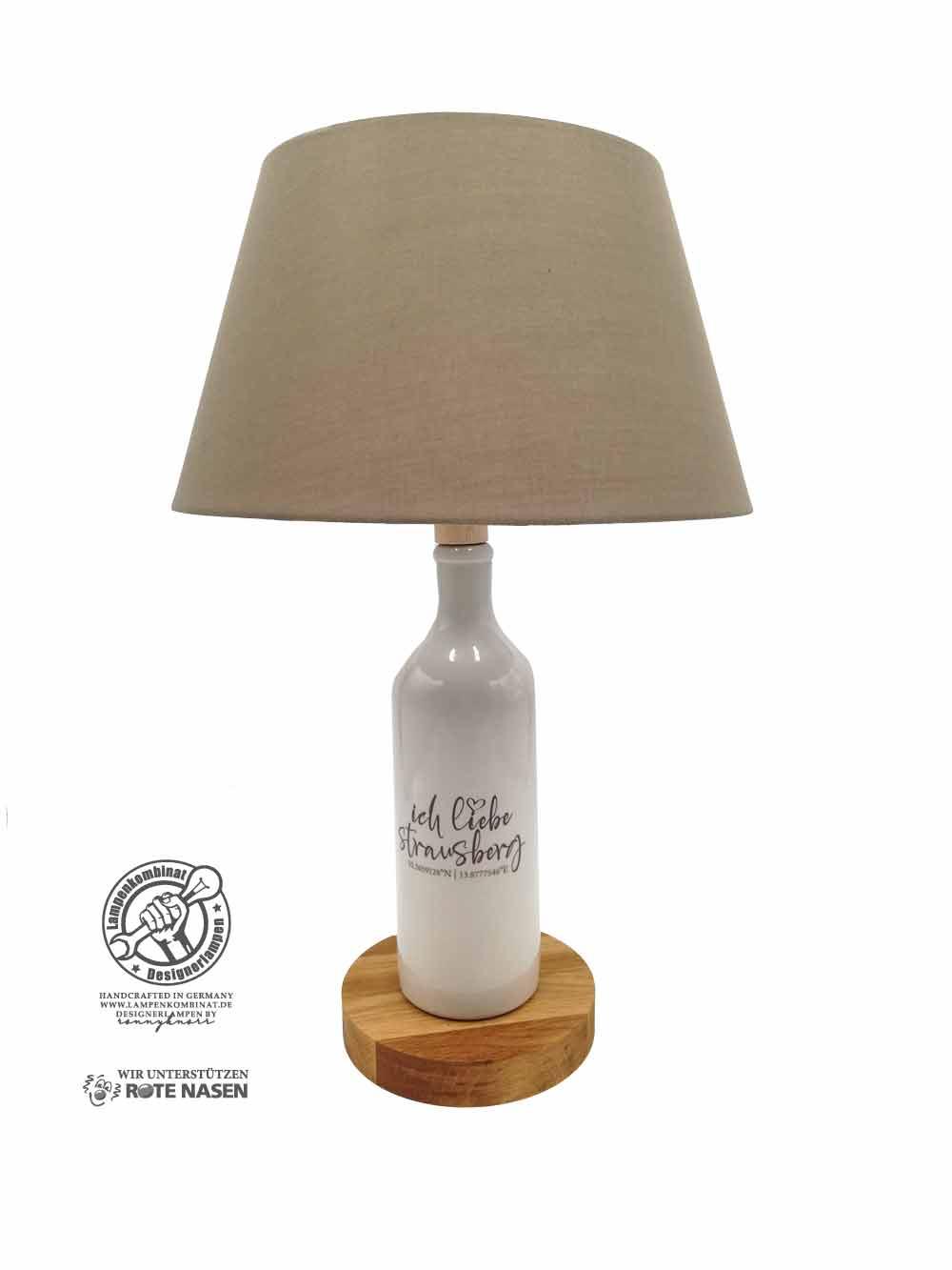 Steingutlampe Schriftzug